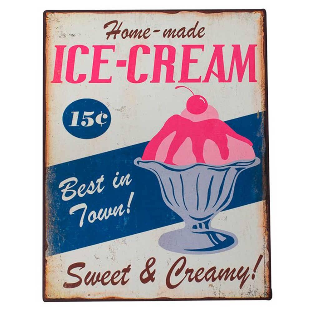 Placa Ice-Cream com Fundo Bege em Metal - 40x31 cm