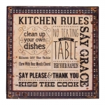 Placa Kitchen Rules Bege e Preto em Metal - 30x30 cm