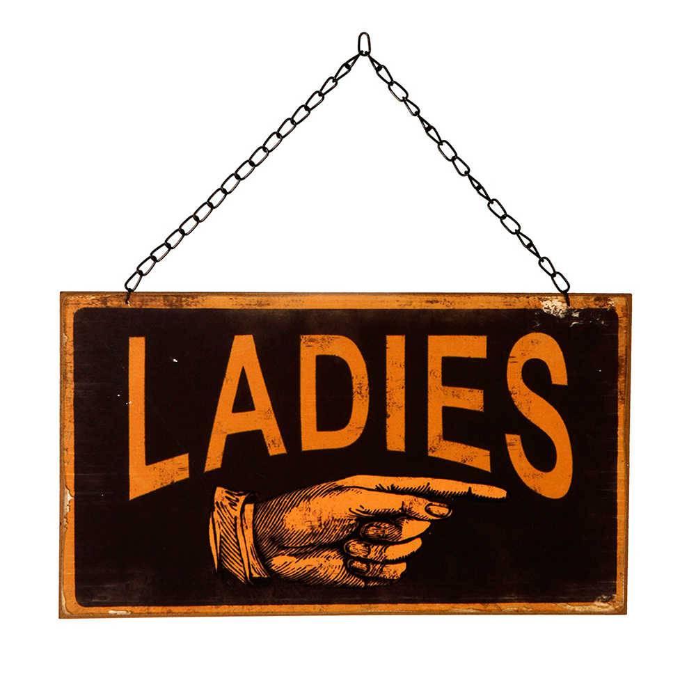 Placa Ladies em Metal - 33x24 cm