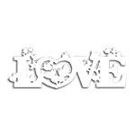 Placa Laqueada Love Branco em MDF