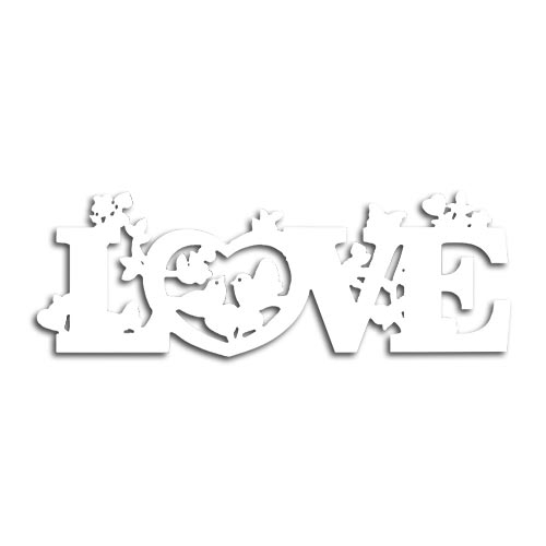 Placa Laqueada Love Branco em MDF - 39,8x14 cm