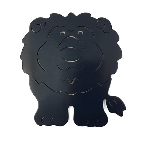 Placa Leão Azul Marinho - Tema Infantil -  MDF Vazado - 28x31 cm