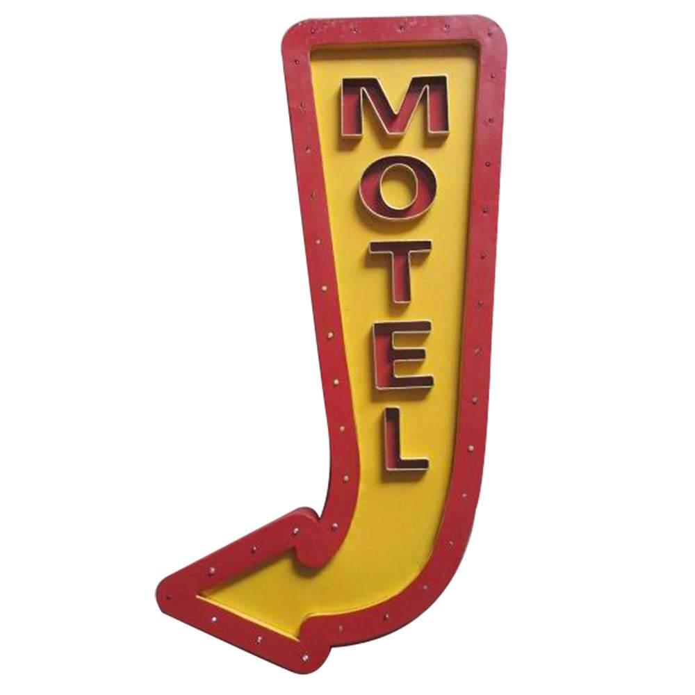 Placa com LED Big Arow Motel Amarelo e Vermelho em Metal - Urban - 74x31,5 cm