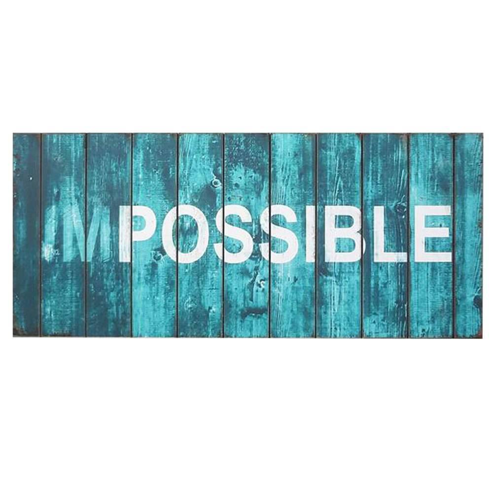 Placa Loft Impossible Azul em Madeira - Urban - 70x30 cm