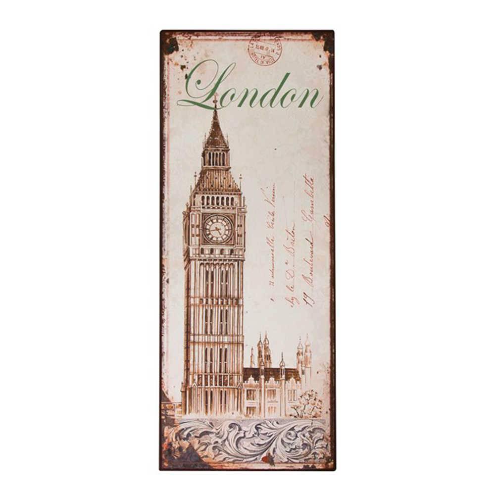 Placa London Bege e Marrom em Metal - 77x30 cm