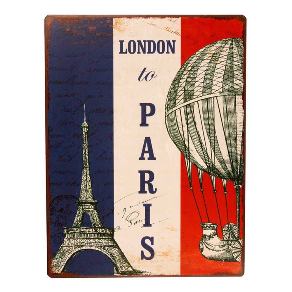 Placa London to Paris em Metal - 36x27 cm
