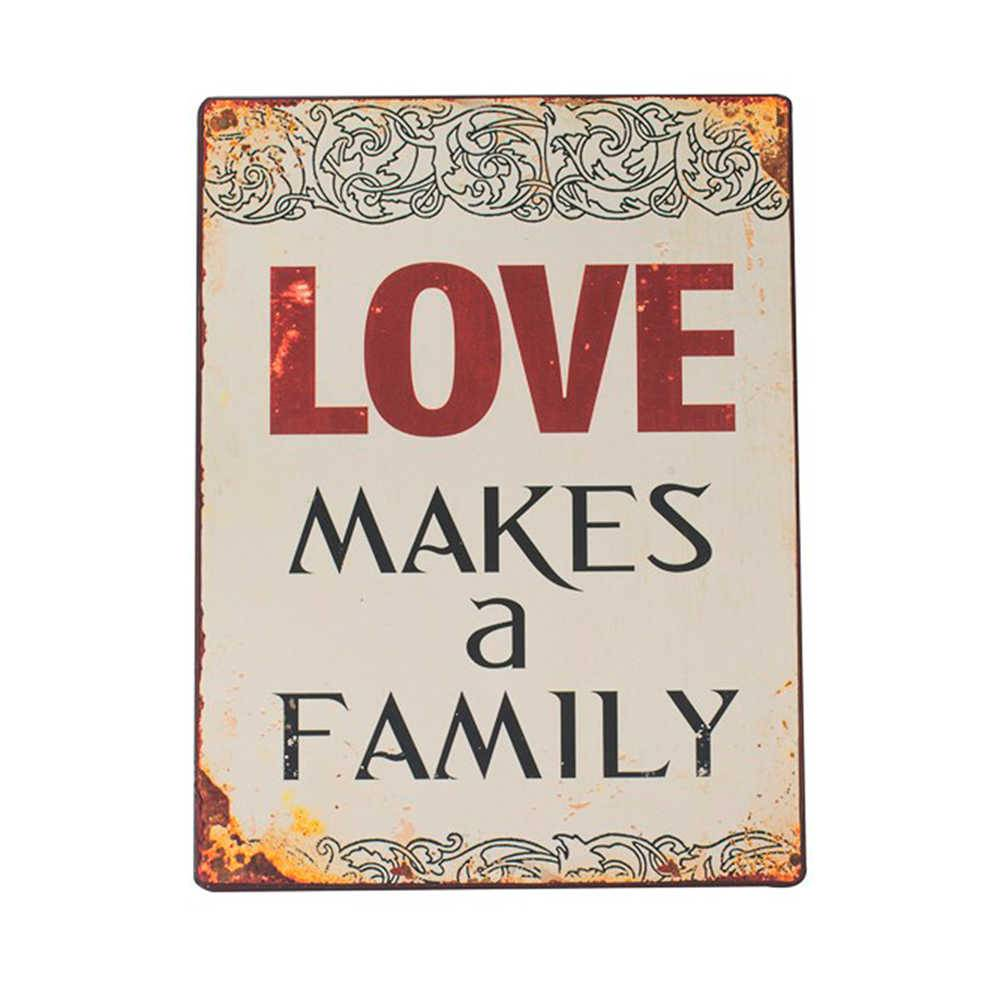 Placa Love Make a Family Branca em Metal - 35x26 cm