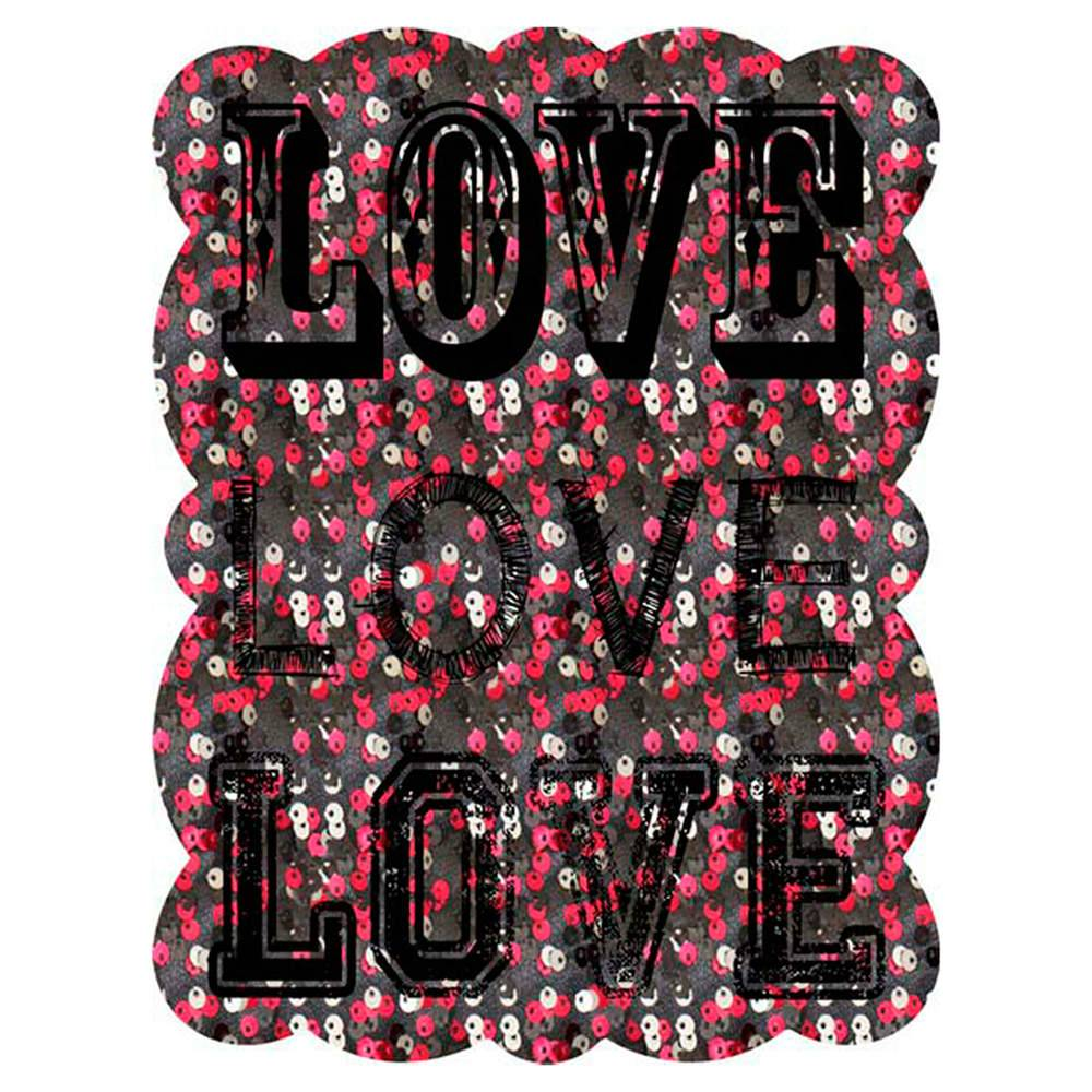 Placa Love Rosa em Metal - Urban - 33x25 cm