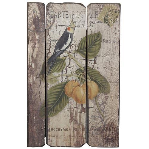Placa em Madeira Selo Pássaro c/ Frutos Oldway - 48x30 cm