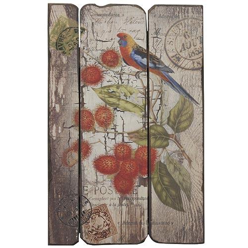 Placa em Madeira Selo Pássaro c/ Frutos Vermelhos Oldway - 48x30 cm3