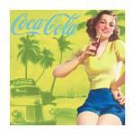Placa Magnética Coca-Cola Pin-Up Brown Lady Amarelo em Metal - Urban - 50x50 cm