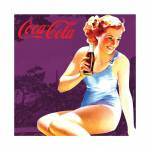 Placa Magnética Coca-Cola Pin-Up Brown Lady Roxo em Metal - Urban - 50x50 cm