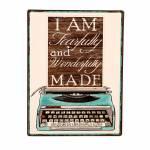 Placa Maquina de Escrever Azul em Metal - 36x27 cm