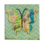 Placa de Metal Borboleta Verde Fullway - 50x50x2,5 cm