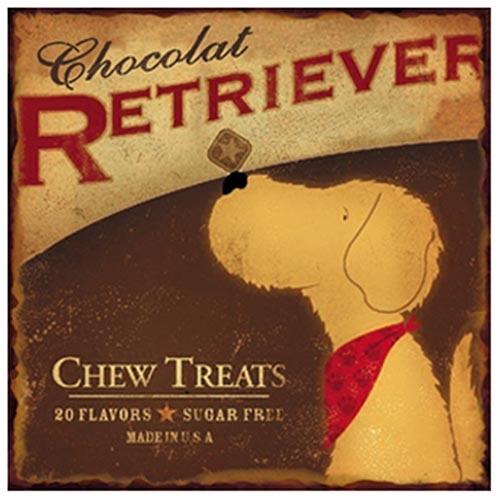 Placa de Metal Chocolat Retriever Oldway - 25x25 cm