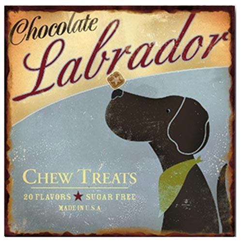 Placa de Metal Chocolate Labrador Oldway - 25x25 cm