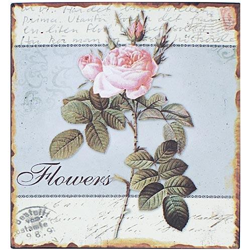 Placa de Metal Flowers Oldway - 25x25 cm