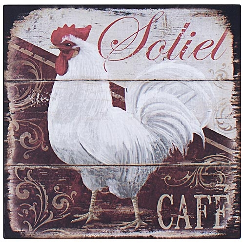 Placa de Metal Galo Branco Soliet Cafe Oldway - 25x25 cm