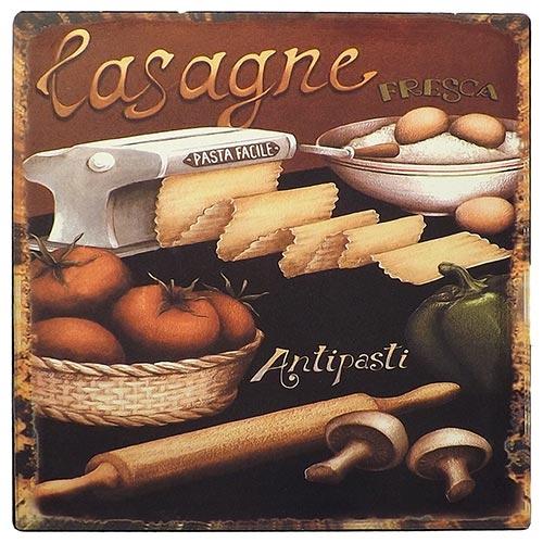 Placa de Metal Lasagne Oldway - 25x25 cm