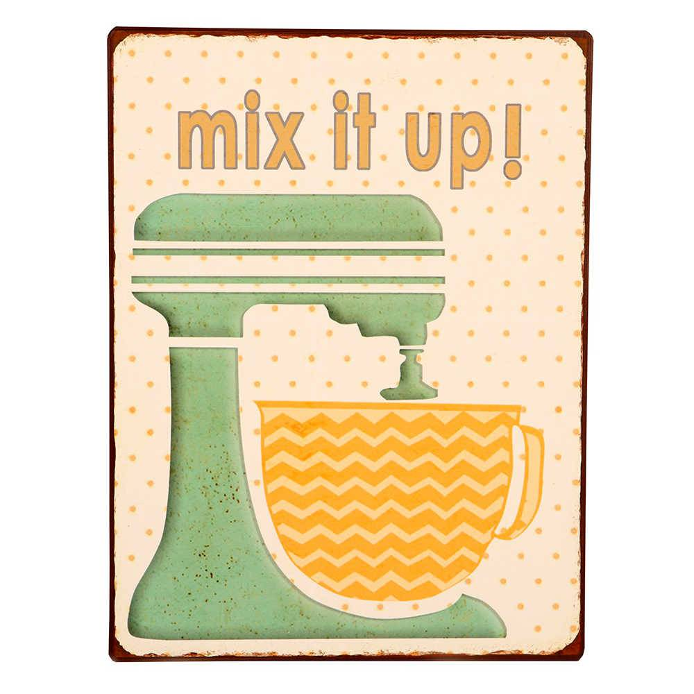 Placa Mix It Up em Metal - 35x26 cm