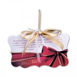 Placa Móbile Grande Feliz Natal Laço Vermelho em MDF - 30x20 cm