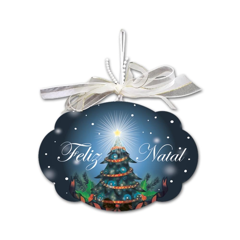 Placa Móbile Grande Noite de Natal Azul em MDF - 30x20 cm