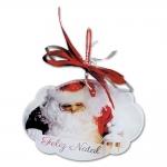 Placa Móbile Grande Papai Noel Laço Vermelho em MDF - 30x20 cm