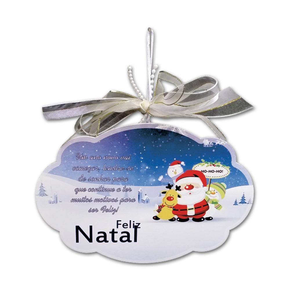 Placa Móbile Grande Papai Noel na Neve Branco e Azul em MDF - 30x20 cm
