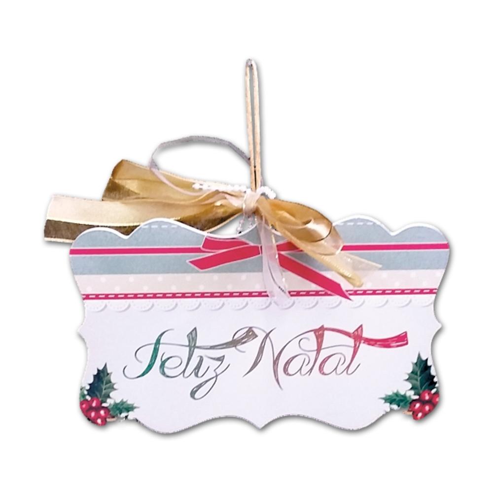 Placa Móbile Média Feliz Natal Laço Rosa em MDF - 19x13 cm
