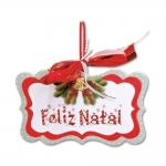 Placa Móbile Média Feliz Natal Vermelho e Branco em MDF - 19x13 cm