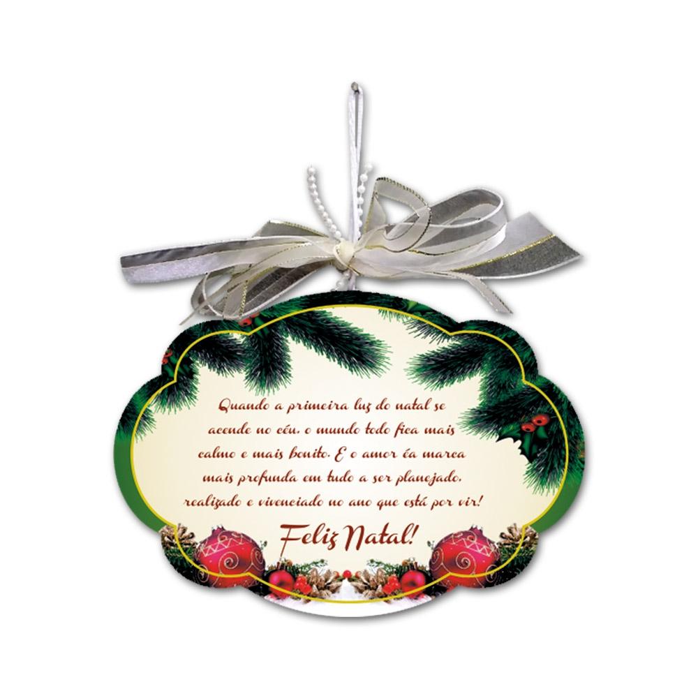Placa Móbile Média Luz do Natal Bege em MDF - 19x13 cm