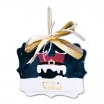 Placa Móbile Médio Papai Noel Preso na Chaminé em MDF - 19x13 cm