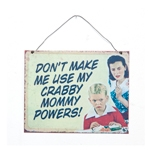 Placa Mommy Powers em Metal - 24x19 cm