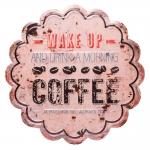 Placa Nuvem Coffee Branco - Efeito Desgastado - em Metal - 30x30 cm