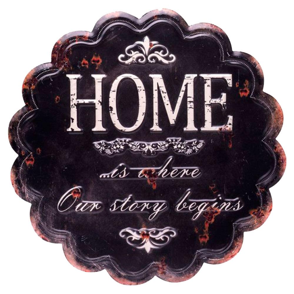 Placa Nuvem Home Preto em Metal - 30x30 cm