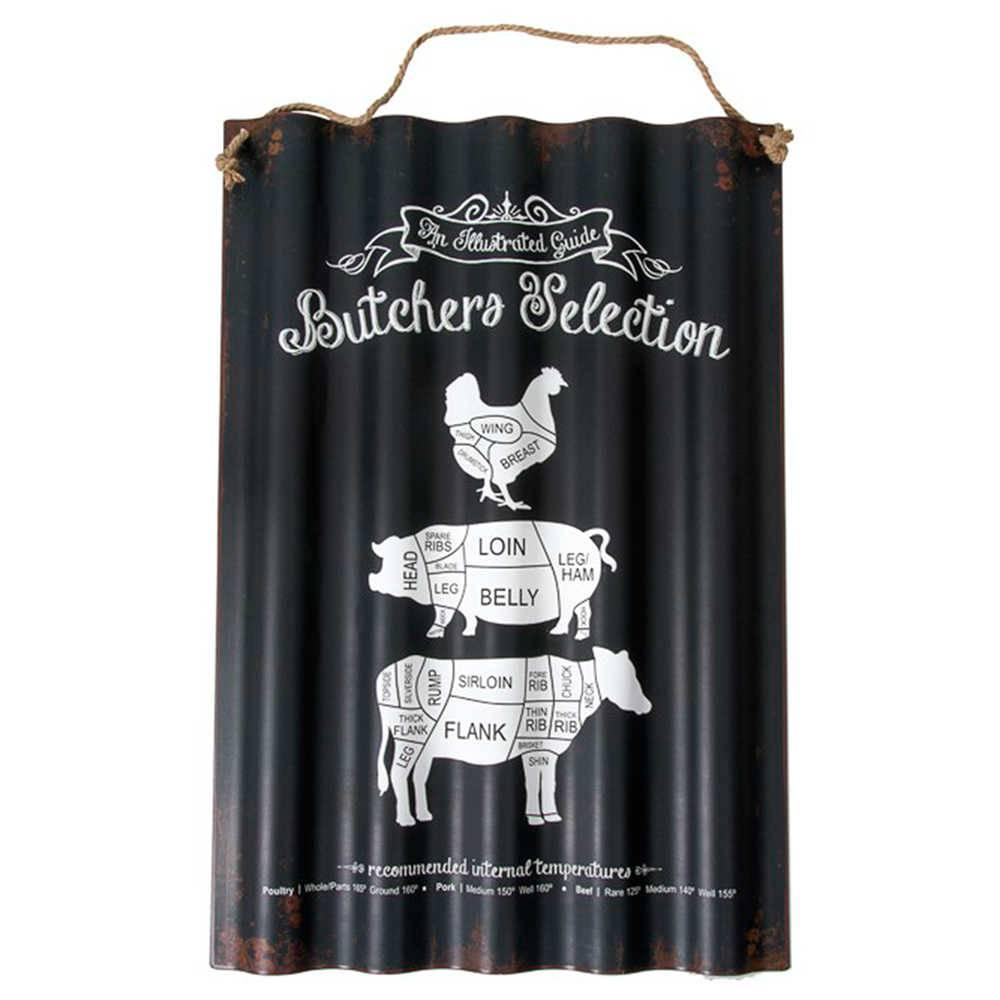 Placa Ondulada Butchers Selection Preta em Metal - 75x50 cm