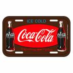 Placa de Parede Coca-Cola 2 Bottles Ice Cold Marrom em Metal - Urban - 30x15 cm