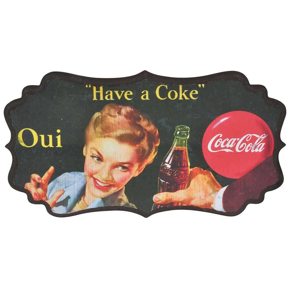 Placa de Parede Coca-Cola Blond Lady Oui Colorido em MDF - Urban - 36,5x20 cm