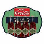 Placa de Parede Coca-Cola Four Bottles Colorido em MDF - Urban - 43,8x34,5 cm