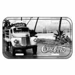Placa de Parede Coca-Cola Front View Truck Preto e Branco em Metal - Urban - 30x15 cm