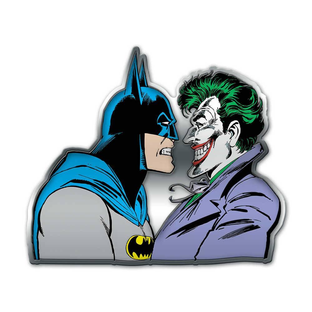 Placa de Parede DC Comics Batman And Joker Face to Face Colorido em Metal - 40x34 cm