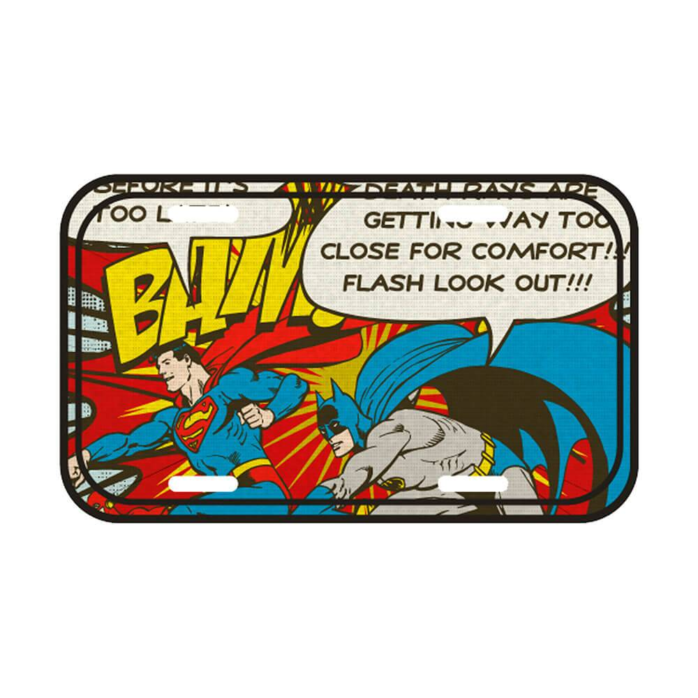 Placa de Parede DC Comics Batman and Superman Bam em Metal - Urban - 30x15 cm