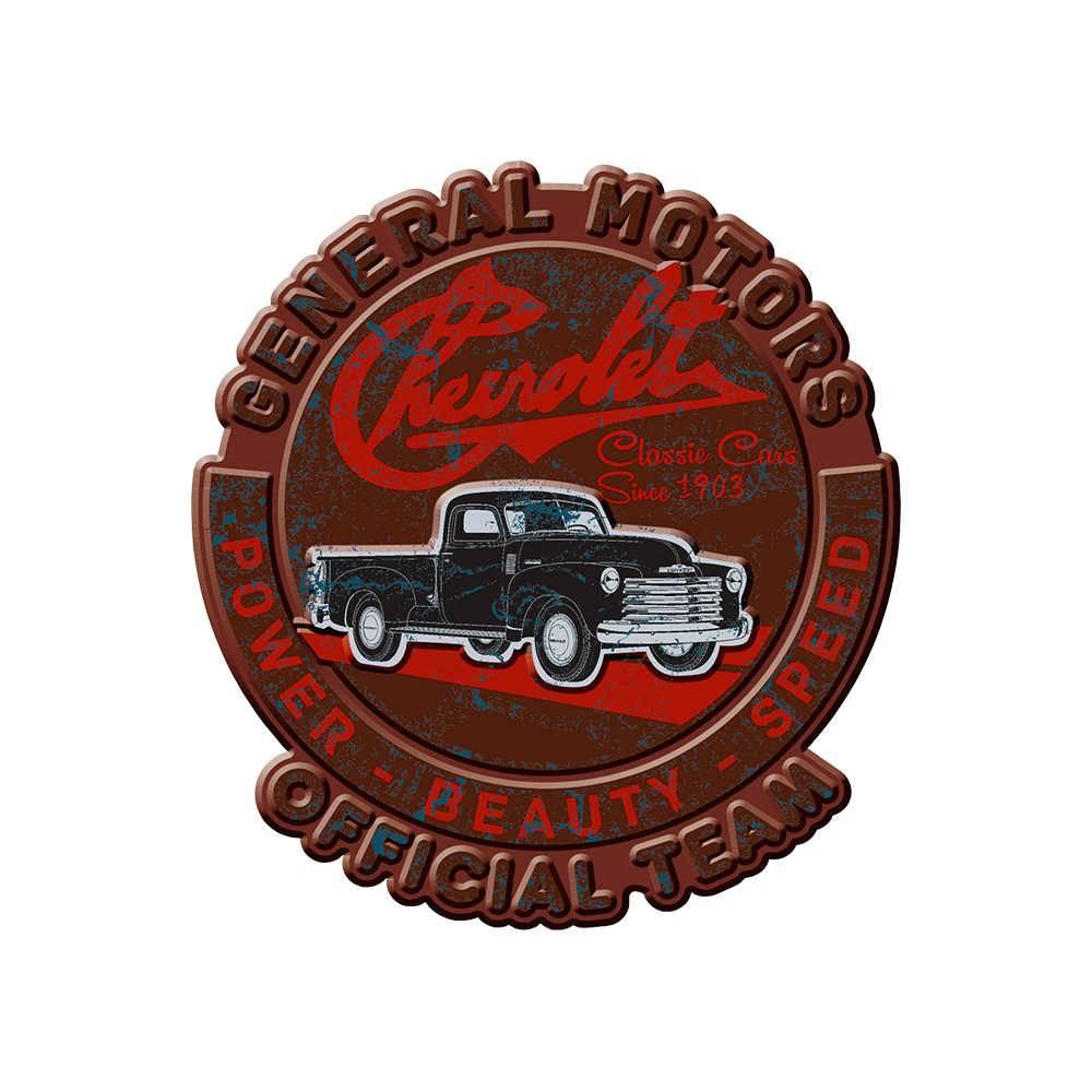 Placa de Parede GM Truck Official Team Marrom e Vermelho em Metal - 35 cm