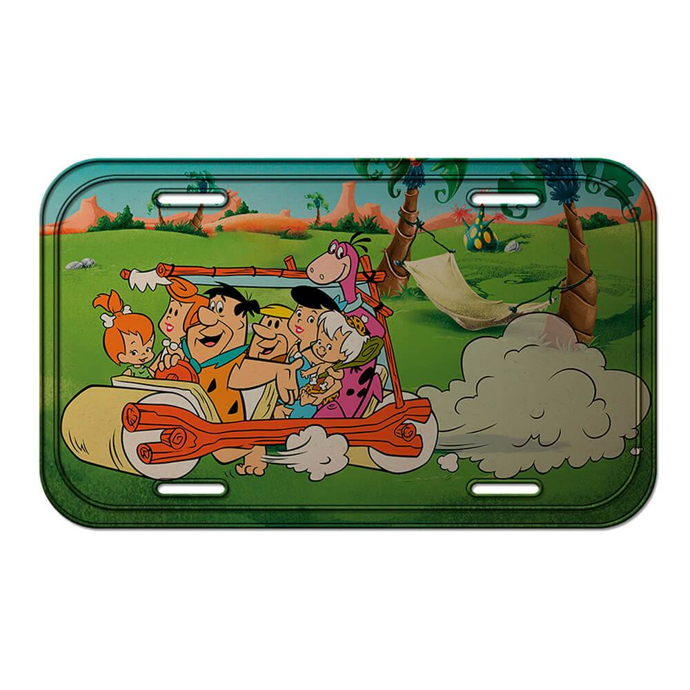 Placa de Parede Hanna Barbera Flintstones the Family Riding Around em Metal - Urban - 30x15 cm
