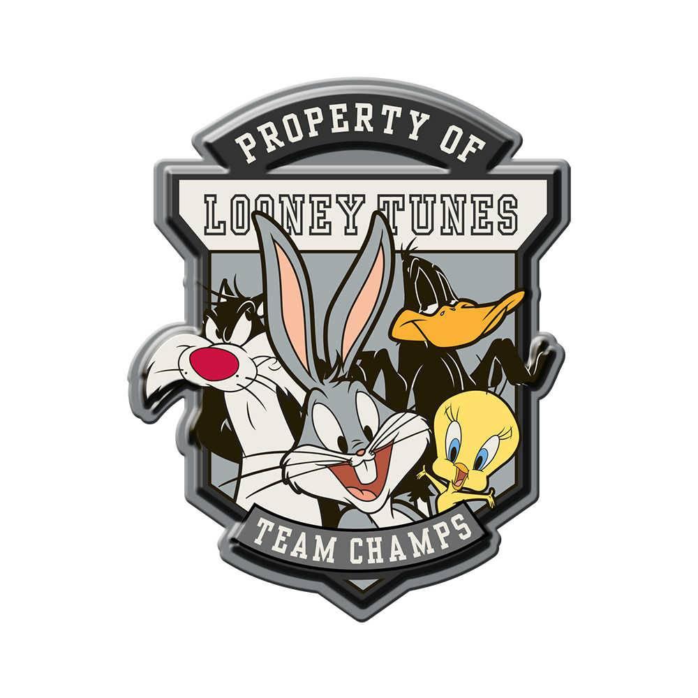 Placa de Parede Looney Team Champs Fundo Cinza em Metal - Urban - 40x35 cm
