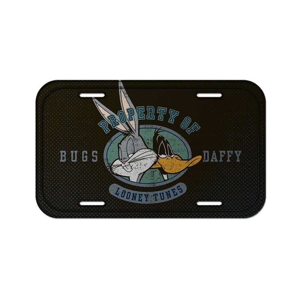 Placa de Parede Looney Tunes Bugs Bunny and Daffy Duck Cinza em Metal - 30x15 cm