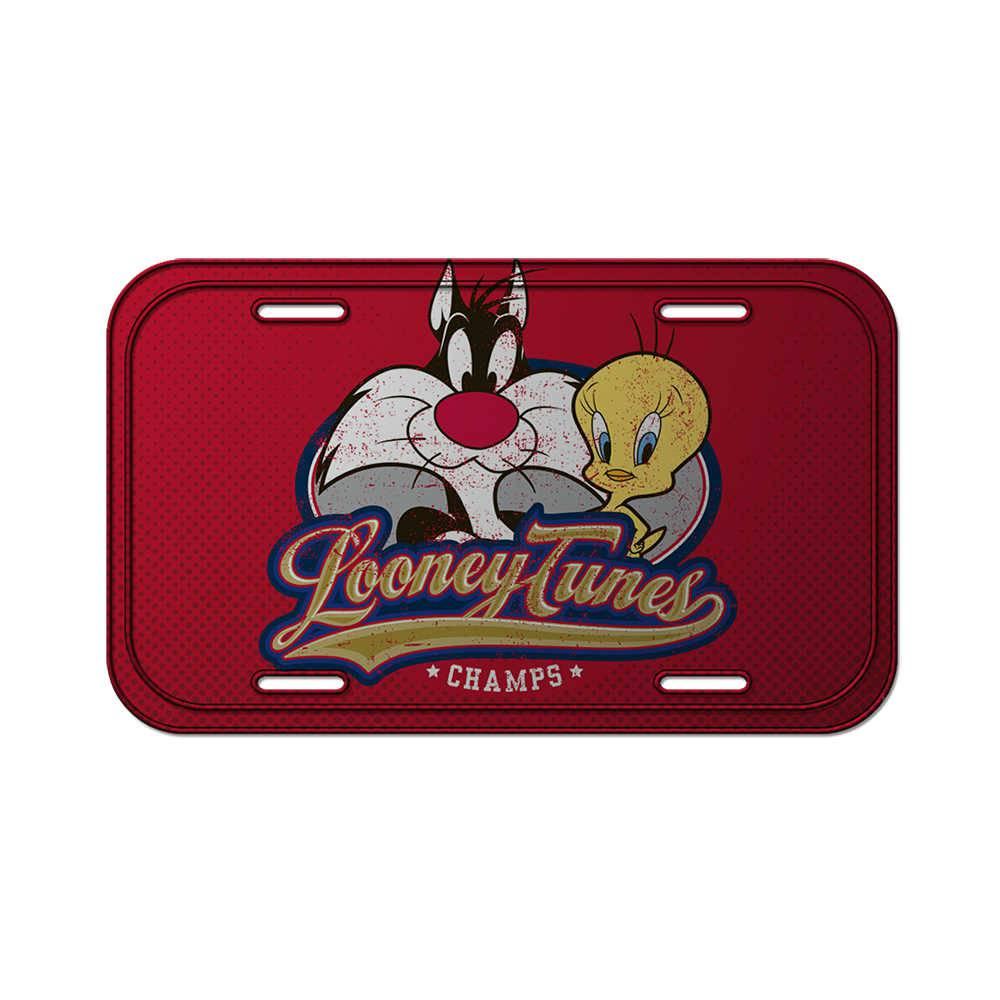 Placa de Parede Looney Tunes Sylvester And Tweety Fundo Vermelho em Metal - 30x15 cm