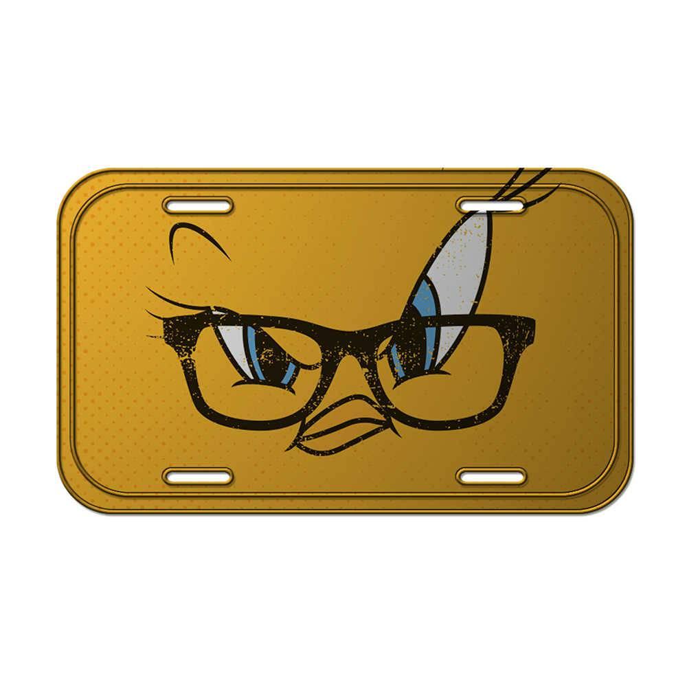 Placa de Parede Looney Tunes Tweety Big Face Amarelo em Metal - 30x15 cm