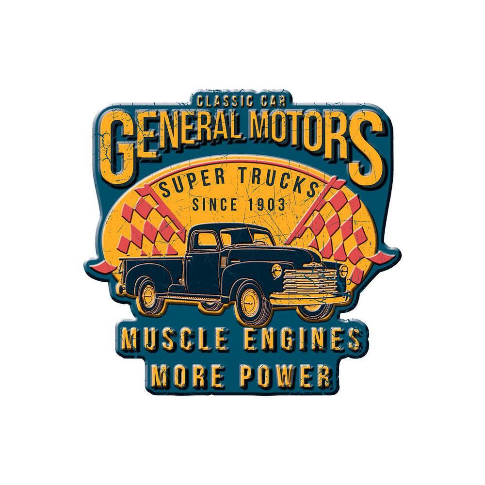 Placa de Parede Recortada GM Super Trucks Muscle Engines Azul e Amarelo em Metal - 35 cm