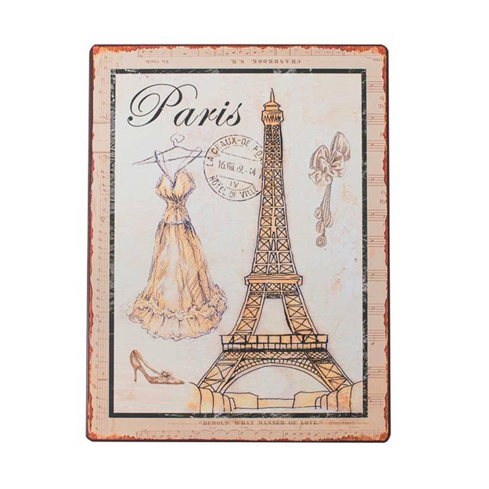Placa Paris Bege e Branco em Metal - 35x26 cm